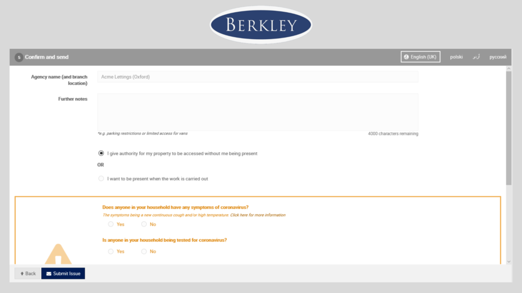 Step 5 to report your maintenance request is to confirm and send the form